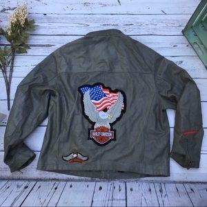 Wilsons leather Harley Davidson patch moto jacket